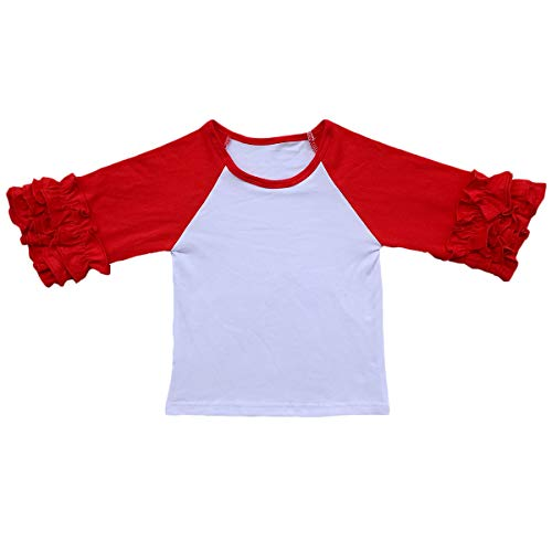 (Little Big Girl Icing Ruffle Tops Raglan T-Shirt Boutique 3/4 Sleeve Tee Shirt Halloween Costume Birthday Christmas)