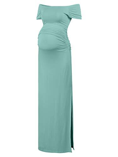 Black Cherry Women's Off Shoulder Short Sleeve Maternity Casual Maxi Dress Blue-Green ()