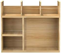デスクトップ本棚マルチレイヤの木製のカウンター書棚アクセサリー収納ボックス寮デスク収納棚ライトウォールナット (Color : Light walnut, サイズ : 17.7*21.6in)