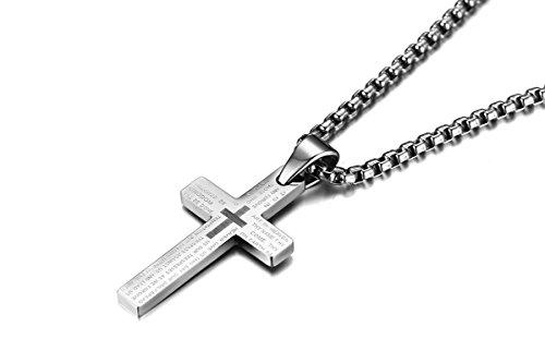 - Gnzoe Women Men Stainless Steel Pendant Cross Crucifix Prayer Christian Necklace English Bible Silver