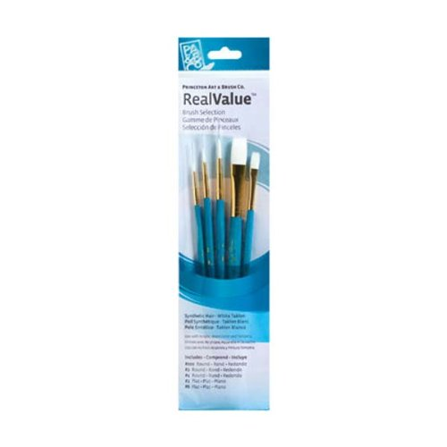 Princeton Art & Brush Real Value Brush Set, Synthetic White ()