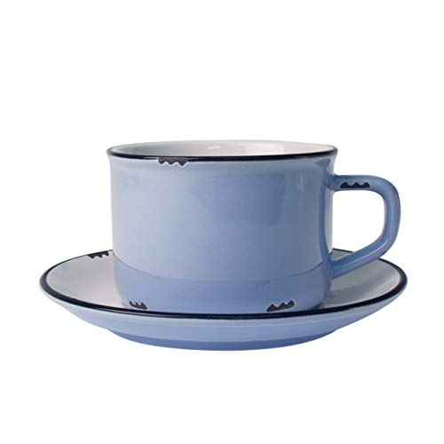 (Canvas Home Ltd C28-TCP-CB Canvas Home Tinware Cup and Saucer with Black Rim, Cashmere Blue-Pack of 4, Stoneware)