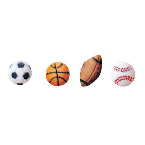 Lucks Dec-Ons Decorations Molded Sugar/Cup-Cake Topper, Sports Balls Assortment, 1 - 1 1/8 Inch, 319 (Sport Ball Assortment)