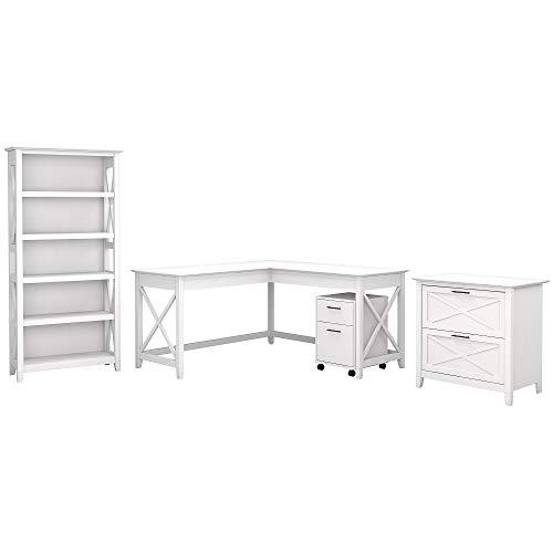 Bush Furniture Key West 60W L Shaped Desk with File Cabinets and 5 Shelf Bookcase, Pure White Oak