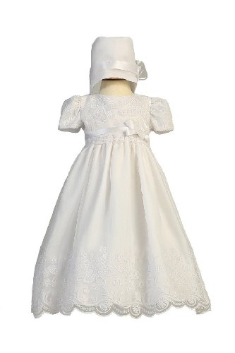 Long White Classy Embroidered Organza Baby Girl Christening Baptism Special Occasion Newborn Dress Gown with Matching Hat - S (3-6 Month, 8-12 ()