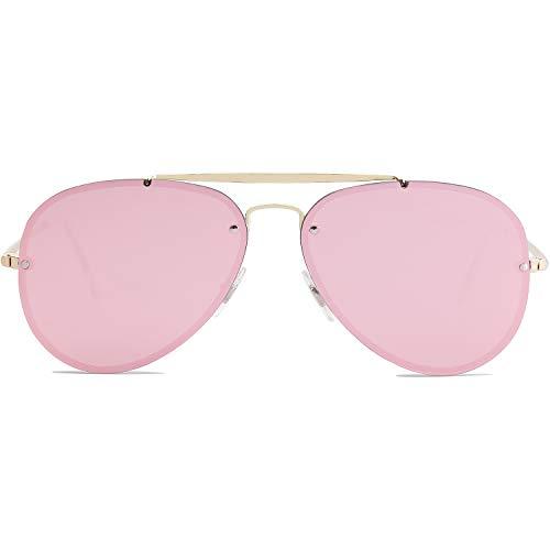 - SOJOS Rimless Aviator Sunglasses for Men and Women Metal Frame Mirrored Lens TRENDALERT SJ1105 with Gold Frame/Pink Mirrored Lens