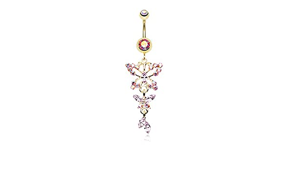 Freedom Fashion Rose Gold Glam Butterfly Fall Fancy 316L Gold Plated Steel Belly Button Ring Sold Individually