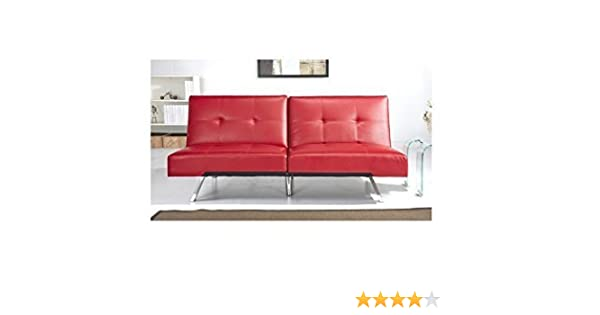 ABBYSON LIVING Best Aspen Red Leather Foldable Futon Sleeper Sofa Bed