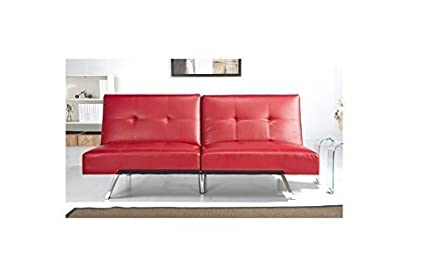 Amazon.com: ABBYSON LIVING Best Aspen Red Leather Foldable Futon ...