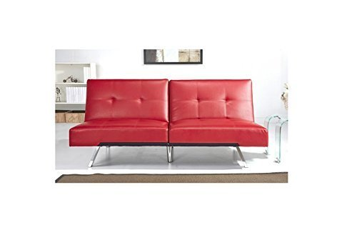 ABBYSON LIVING Best Aspen Red Leather Foldable Futon Sleeper Sofa Bed