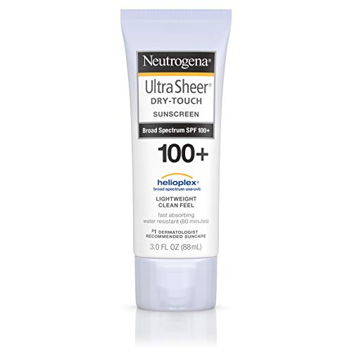 Neutrogena Ultra Sheer Dry-Touch Water Resistant and Non-Greasy Sunscreen Lotion with Broad Spectrum SPF 100+, 3 fl. oz (Best Sunscreen To Use Under Makeup)