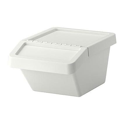 Ikea Sortera Poubelle De Tri Avec Couvercle Blanc 37 L