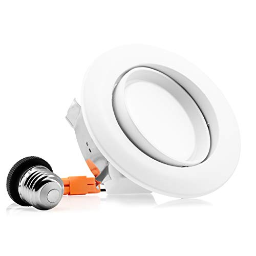 Parmida (1 Pack) 4 inch Dimmable LED Adjustable Gimbal Eyeball Retrofit Recessed Downlight, 10W (65W Replacement), Directional Swivel Can Lighting Trim, 650lm, Energy Star & ETL, 5000K (Day ()