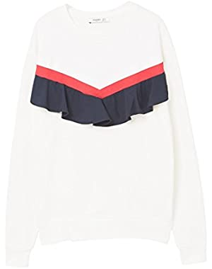 Mango Women's Ruffled Cotton Sweatshirt