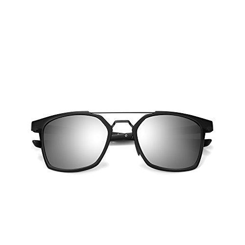 2020Ventiventi Gun Frame/Silver Lens Pentagon 50mm Twin-Beams Polarized Aluminum Mirror Sunglasses for Unisex (Men and Women)