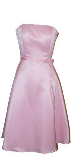 50s Strapless Satin Bridesmaid Bridesmaid Dress Homecoming, XL, (Strapless Tea Length)