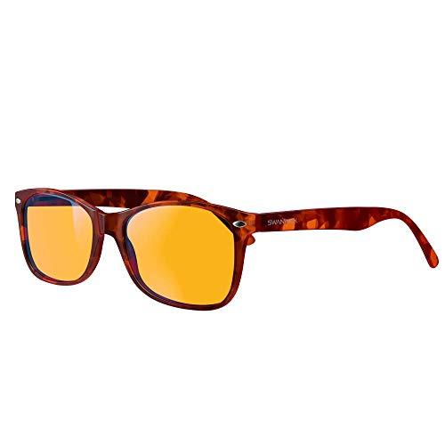 Blue Light Blocking Glasses - Swannies Gamer and Computer Eyewear - Filter Artificial Light for Deep Sleep - Digital Eye Strain Prevention - by Swanwick Sleep - an FDA Registered Com(Tortoise) Regular