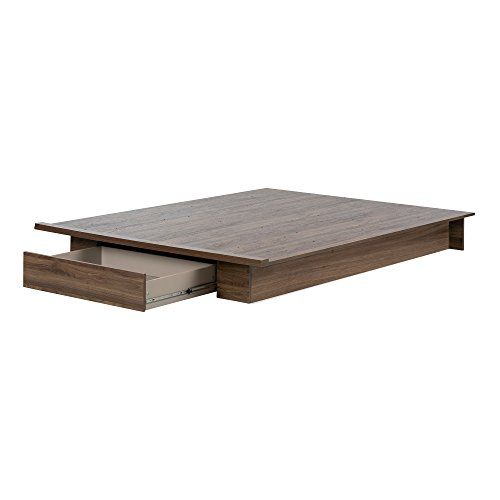 o Platform Bed with Drawer, Full/Queen, Natural Walnut ()