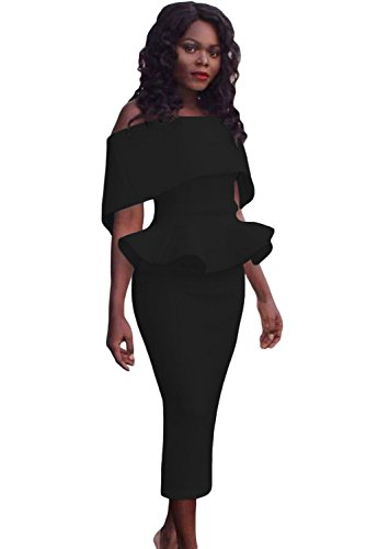Nuevo Negro de la mujer Off hombro peplum Midi vestido oficina vestido casual noche fiesta wear tamaño M UK 10–�?2EU 38–�?0