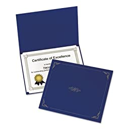 Certificate Holder, 11 1/4 x 8 3/4, Dark Blue, 5/Pack, Sold as 5 Each