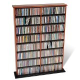 media racks - Prepac Cherry Double Width Wall Media (DVD,CD,Games) Storage Rack