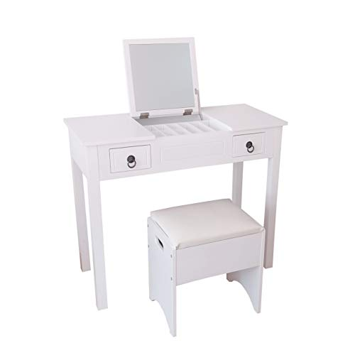 Vanity Set,Flip-top Mirror Dressing Table Makeup Vanity Table Set, Storage Stool with 3 Movable Organizers 2 Drawers,Easy Assembly,White 35.5