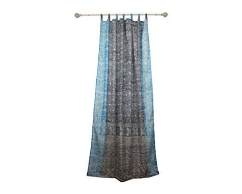 GRAY CURTAIN Colorful Window Treatment Draperies Indian Sari panel 108 96 84 inch for bedroom living room dining room kids yoga studio canopy boho tent with GIFT bag GRAY TURQUOISE accents
