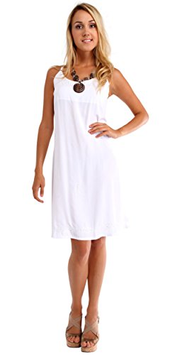 1 World Sarongs Womens Lined Sundress in White - Medium