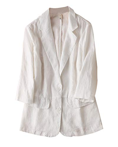IXIMO Women's 100% Linen Blazers 3/4 Sleeve 2 Button Suit Coats Casual Work Jackets White L