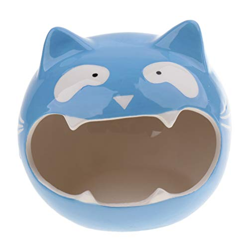 D DOLITY Cute Hamster Hideout Nest - Critter House Gerbils, Mice Other Small Animals - Safe Ceramic Mini Pet Home Bath-Lovely Cat Shape - Blue