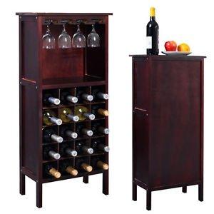 New Wood Wine Cabinet Bottle Holder Storage Kitchen Home Bar w/ Glass Rack
