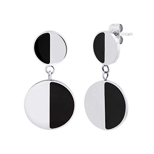 (555Jewelry Stainless Steel Womens Two Tone Circle Round Disc Statement Party Trendy Dangle Drop Fashion Fine Jewelry Accessory Earrings, Silver & Black)
