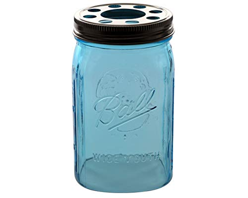 (Open Bottom Mason Jar Glass Shade with 1-5/8-Inch Fitter Opening Lighting Lid (WM Quart Ball Jar, Blue) )