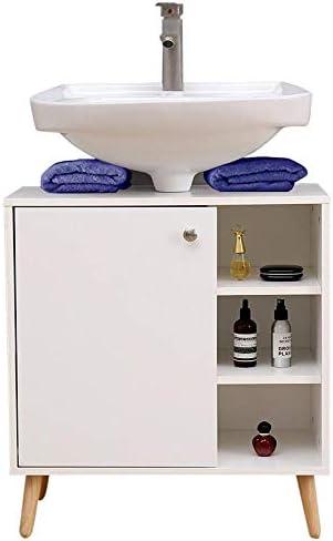 Etnicart Mueble bajo Lavabo para baño 62 (L) x32x67 gabinete Debajo del Fregadero para Cocina en Madera con Puerta para estantes Blancos en Patas Vintage: Amazon.es: Hogar
