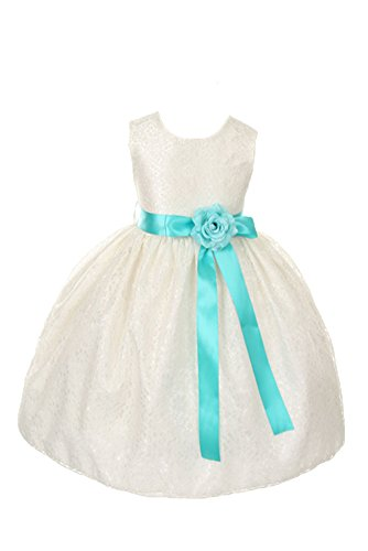 Cinderella Couture Girls Elegant Ivory Lace Flower Girl Dress & Contrasting Sash TIFFANY BLUE 10 -