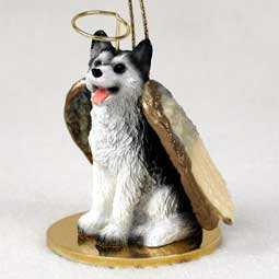 Siberian Figurine Dog Husky (Siberian Husky Black and White with Brown Eyes Angel Ornament)