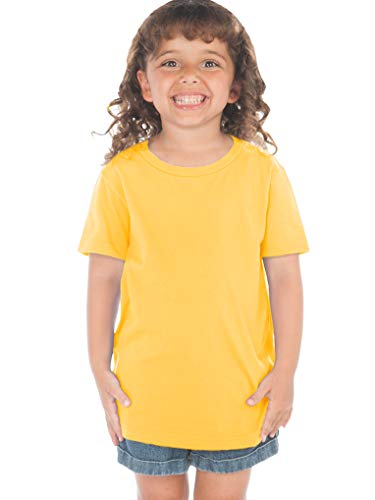 Kavio! Toddlers Crew Neck Short Sleeve Tee (Same TJP0494) Yellow 5T (Yellow Together T-shirts)