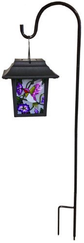 Sided Stained Glass - Continental Art Center NS2218B Four Sided Stained Glass Solar Lantern, Purple Hummingbird, 29.5-Inch by Continental Art Center