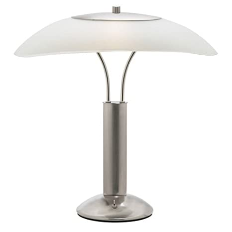 Dainolite Dm217 Sc Table Lamp With White Frosted Glass Shade Satin