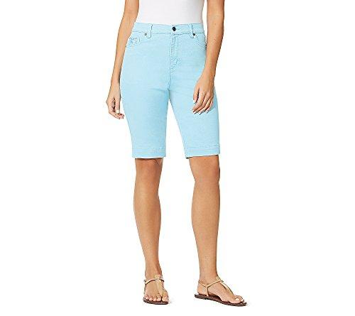 Gloria Vanderbilt Amanda Embroidered Bermuda Shorts Aqua Sky 12