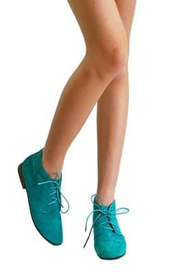 Sandy-41 Oxford Lace Up Low Flat Heel Fux Suede Ankle Top Shoe (5.5, Mint)