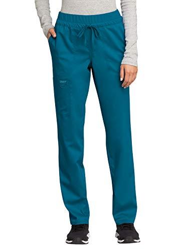 Cherokee Workwear Revolution Mid Rise Tapered Leg Drawstring Scrub Pant, M Petite, Caribbean Blue