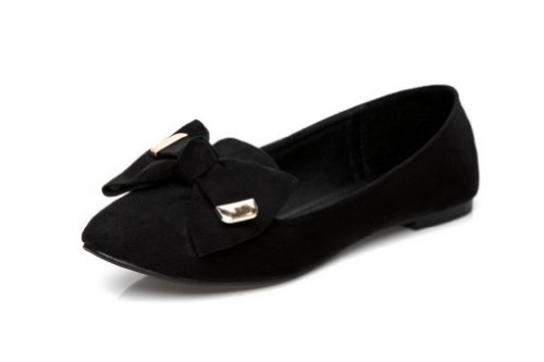 VogueZone009 Womens Closed Pointed Toe Low Heel Suede Frosted Microfiber Solid Pumps with Bowknot Black HjUYLg9