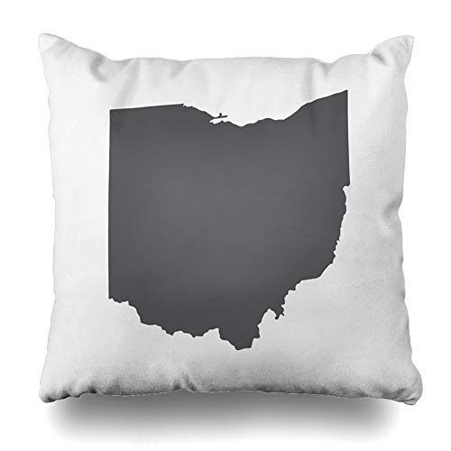 DIYCow Throw Pillows Covers Cleveland Ohio Grey State Border Map Toledo Abstract Home Decor Pillowcase Square Size 18 x 18 Inches Cushion Case