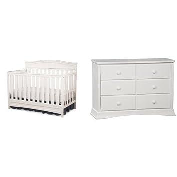 Amazon.com: Delta Children Emery 4-en-1 Cuna, color blanco y ...