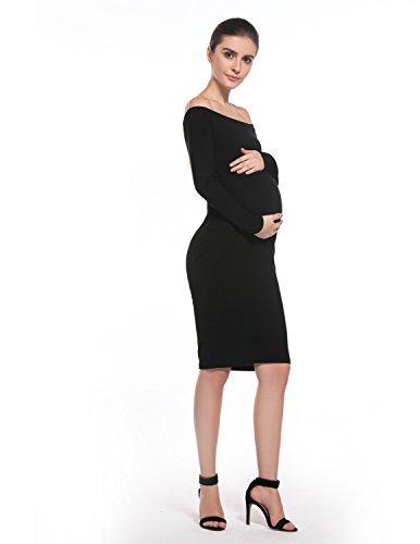 MODETREND Premamá Vestidos sin Tirantes para Mujeres Mama Embarazo Vestido de Maternidad para Fiesta Bodas Cóctel Negro