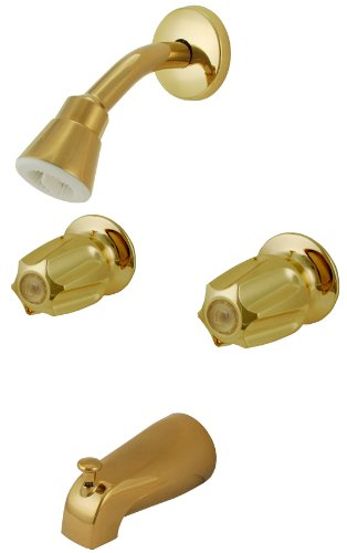 Trim Kit for 2-handle Shower Valve, Fit Price Pfister Compression Stem Shower, Polished Brass Finish -By Plumb USA (Polished Brass Stem)