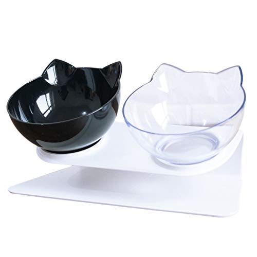 Legendog Double Cat Bowls, Anti Skid Tilting Neck Protective Cat Food Water Bowls, Cat Bowls with Stand, Pet Bowls with Food Scoop for Cats and Small Dogs (Black&White)