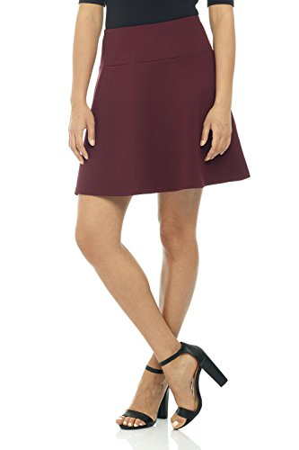 (Rekucci Women's Ease in to Comfort Wide Waist Flared Flippy Skirt Luxe Ponte)