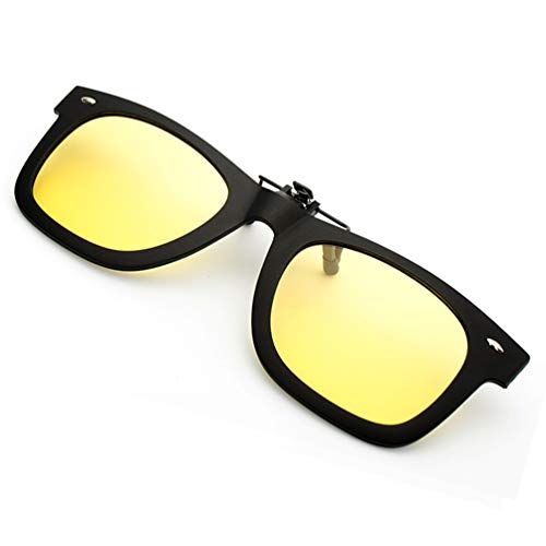 Yellow Clip-on Sunglasses, Polarized Flip Up Driving Sun Glasses for Prescription Men Women